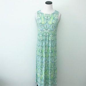 J. JILL Green white paisley Midi Dress petite
